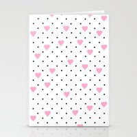Pin Point Hearts Pink Stationery Cards