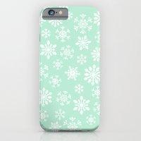 minty snow flakes iPhone 6 Slim Case