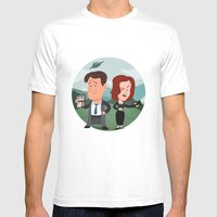 Mulder and Scully Mens Fitted Tee White SMALL