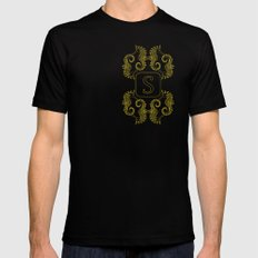 Letter S seahorse monogram Mens Fitted Tee Black SMALL