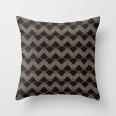 Taupe Geometric Art Deco Chevron Pattern Throw Pillow