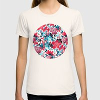 Happy Red Flower Collage Womens Fitted Tee Natural SMALL