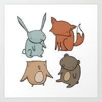 Woodland Animals Art Print