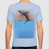 Breaching Whale Mens Fitted Tee Athletic Blue SMALL