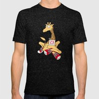 Giraffe with trainers Mens Fitted Tee Tri-Black SMALL