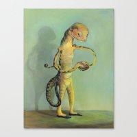 Lizard With Sandwich Canvas Print