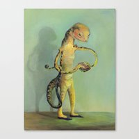 Lizard with Sandwich Canvas Print