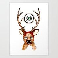 All-seeing Deer Art Print