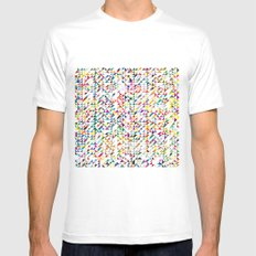 triangles White Mens Fitted Tee SMALL
