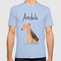 Airedale - Cute Dog Seri… Mens Fitted Tee Tri-Blue SMALL