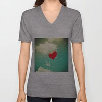 Red Heart Balloon in a Vintage Turquoise Sky  Unisex V-Neck