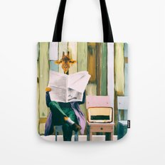 Giraffe reads the paper... Tote Bag
