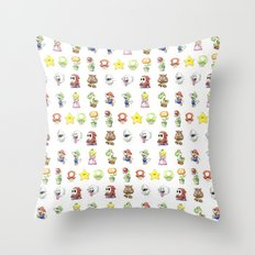 Mario Characters Watercolor  Throw Pillow