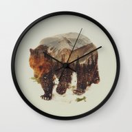 Wall Clock featuring Wild Grizzly Bear by Andreas Lie