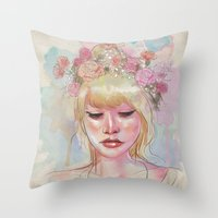 Watercolors And Floral C… Throw Pillow