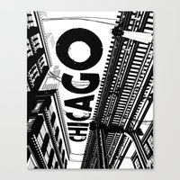 Cities In Black - Chicag… Canvas Print