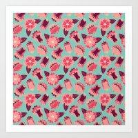 flat flowers - pattern Art Print