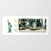 NYC - lady liberty & yellow cabs  Art Print