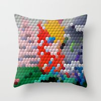 Geometric Wood Throw Pillow
