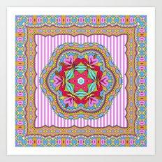 Mix&Match;  Pretty Pink Mandala Meditation pillow 03 Art Print