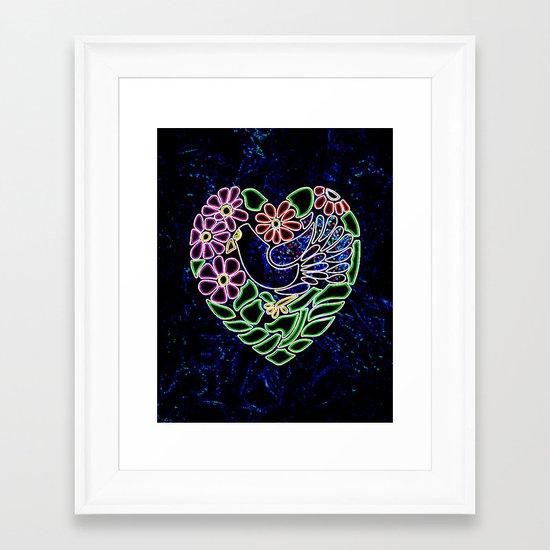Gothic Bird in Heart Framed Art Print