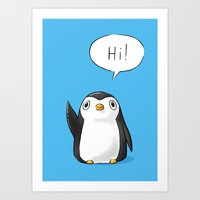 Hi Penguin Art Print