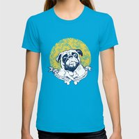 Pug : Small dog, big attitude. Womens Fitted Tee Teal SMALL