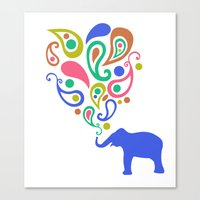 Multi-Colored Paisley Elephant Pattern Design Canvas Print