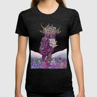Journeying Spirit (Owl) Womens Fitted Tee Tri-Black SMALL