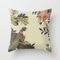 Fox & Pheasant Throw Pillow