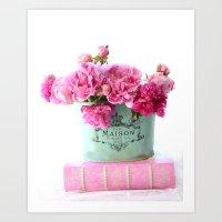 Peonies Pink Aqua French Maison Parisian Decor  Art Print