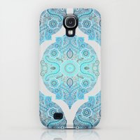 Galaxy S4 Cases featuring Through Ocean & Sky - turquoise & blue Moroccan pattern by micklyn