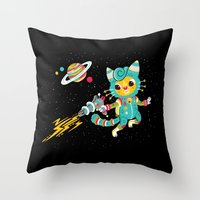 Kitty Cat Space Captain Throw Pillow