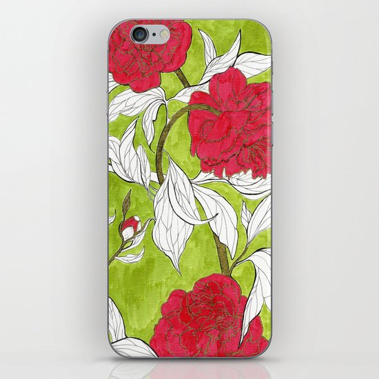 red peonies iPhone & iPod Skin