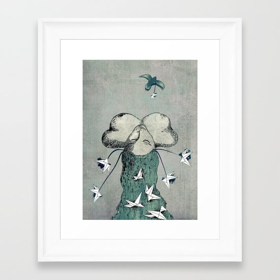 Origami's passion -  a collaboration between Christelle Guilhen and Gwenola de Muralt Framed Art Print