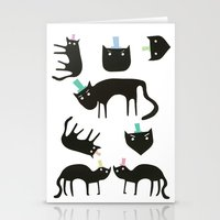 Little cats in colourful hats Stationery Cards