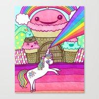 Unicorn And Ice Cream Ki… Canvas Print