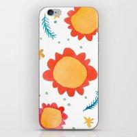 Painted Flowers Orange iPhone & iPod Skin