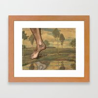 Repainted Thrift Store Painting - Foot Stomp Framed Art Print