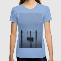 Boat on the lake Womens Fitted Tee Athletic Blue SMALL