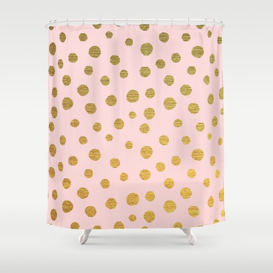 GOLDEN DOTS PINK Shower Curtain By Colorstudio Society6