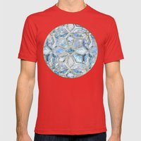 Geometric Gilded Stone Tiles in Soft Blues Mens Fitted Tee Red SMALL
