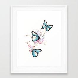 Framed Art Print - Watercolour Butterflies on Apple Blossom - WillowArtPrints