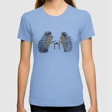 Hedgehogs Playing Pogs  Womens Fitted Tee Athletic Blue SMALL