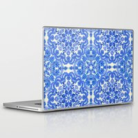 Laptop Skins featuring Cobalt Blue & China White Folk Art Pattern by micklyn