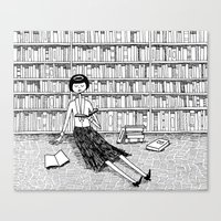 She just wanted to read books and do nothing else Canvas Print