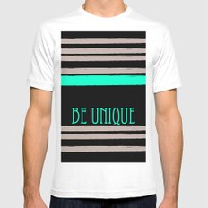 Be Unique SMALL White Mens Fitted Tee