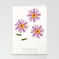 Purple Aster Modern Botanical Stationery Cards