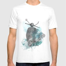 VESPA from the retro project White SMALL Mens Fitted Tee