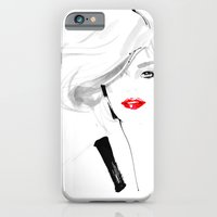 iPhone & iPod Case featuring Woman with red lips by Ioana Avram